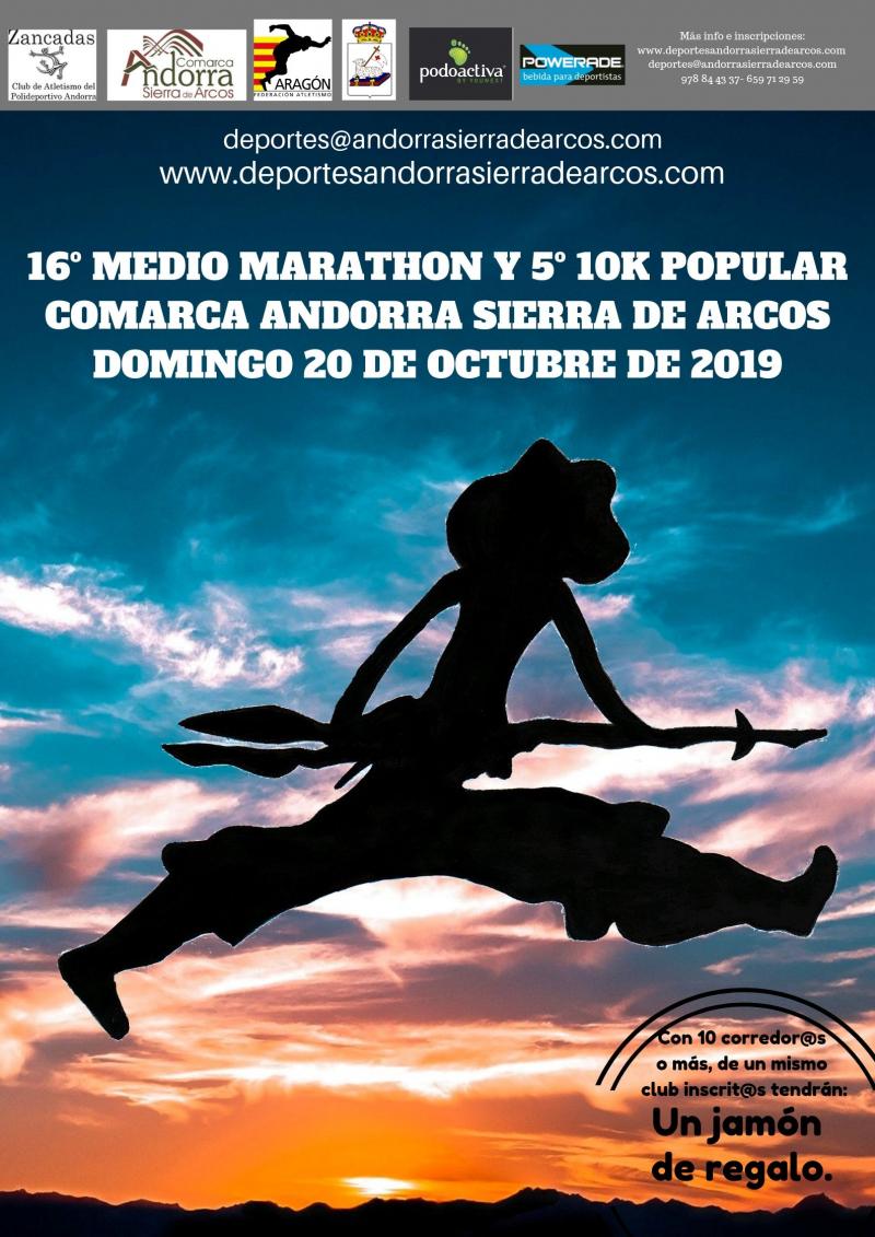 16º MEDIO MARATON Y 5º 10K POPULAR COMARCA ANDORRA SIERRA DE ARCOS - Inscríbete