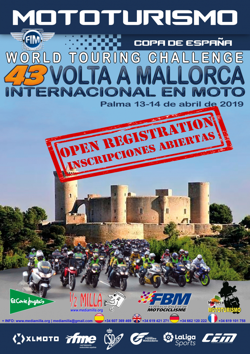 43ª VOLTA INTERNACIONAL A MALLORCA EN MOTO 2019  - W.T.C. - C.E.M.  - Inscríbete