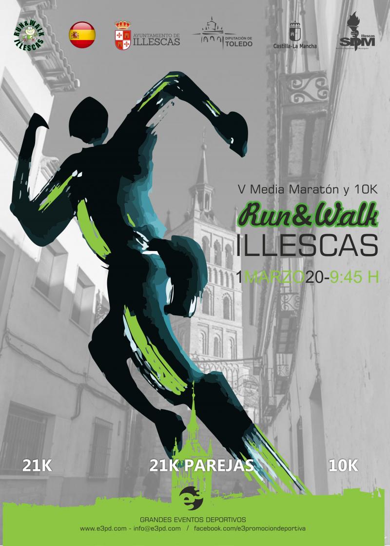 Cartel del evento V 1/2 MARATÓN Y 10K RUN&WALK - ILLESCAS