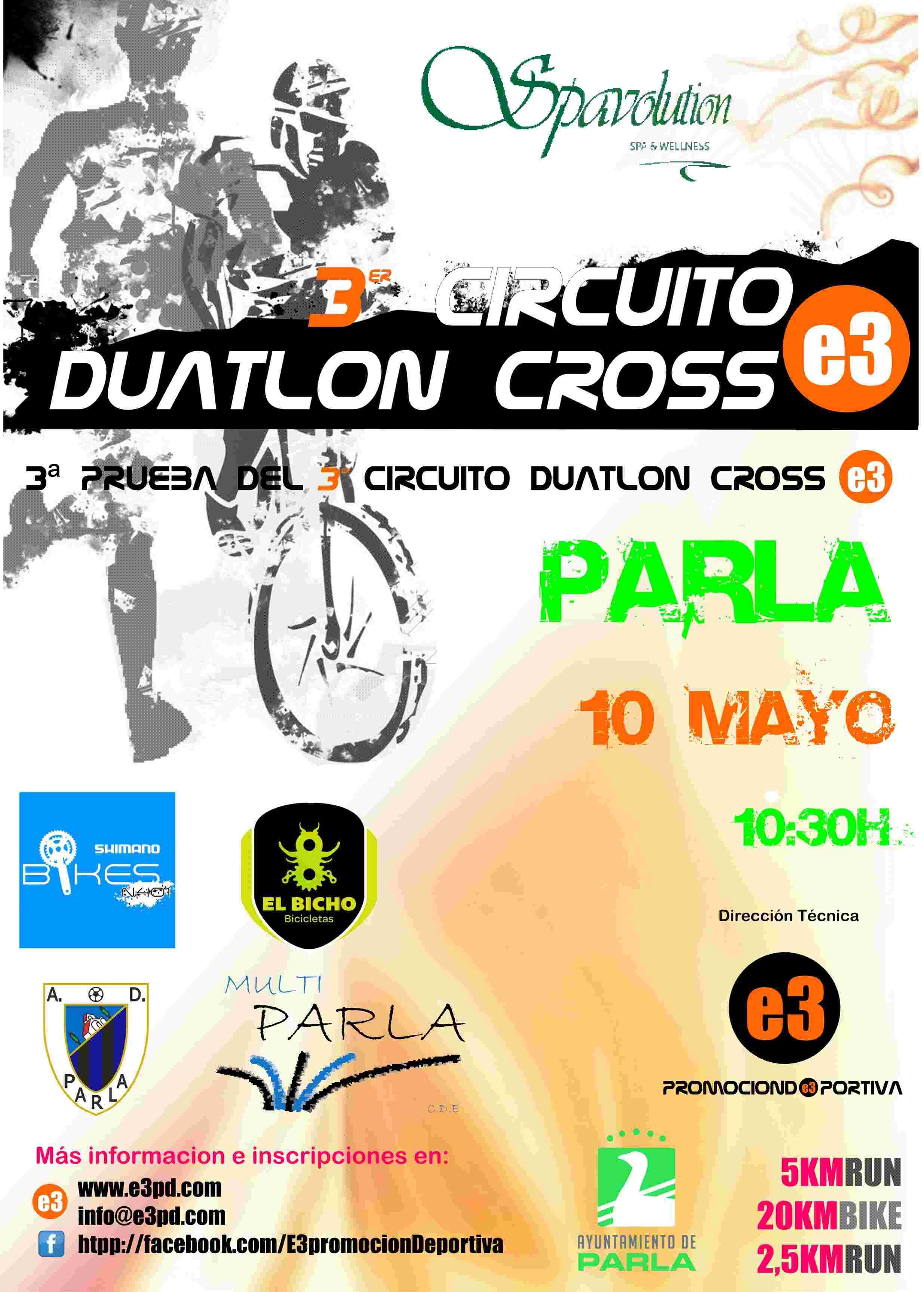 Resultados 3ª PRUEBA CIRCUITO DUATLON CROSS E3 - PARLA