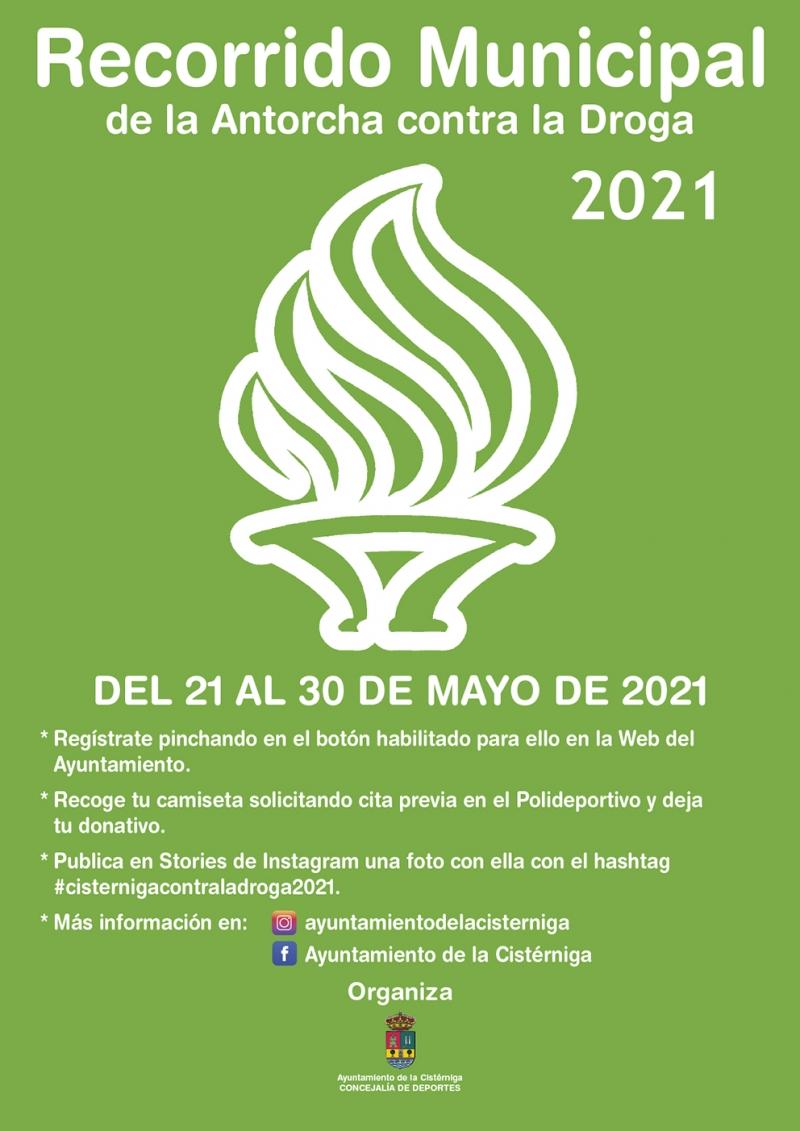 Cartel del evento RECORRIDO MUNICIPAL DE LA ANTORCHA CONTRA LA DROGA #CISTERNIGACONTRALADROGA