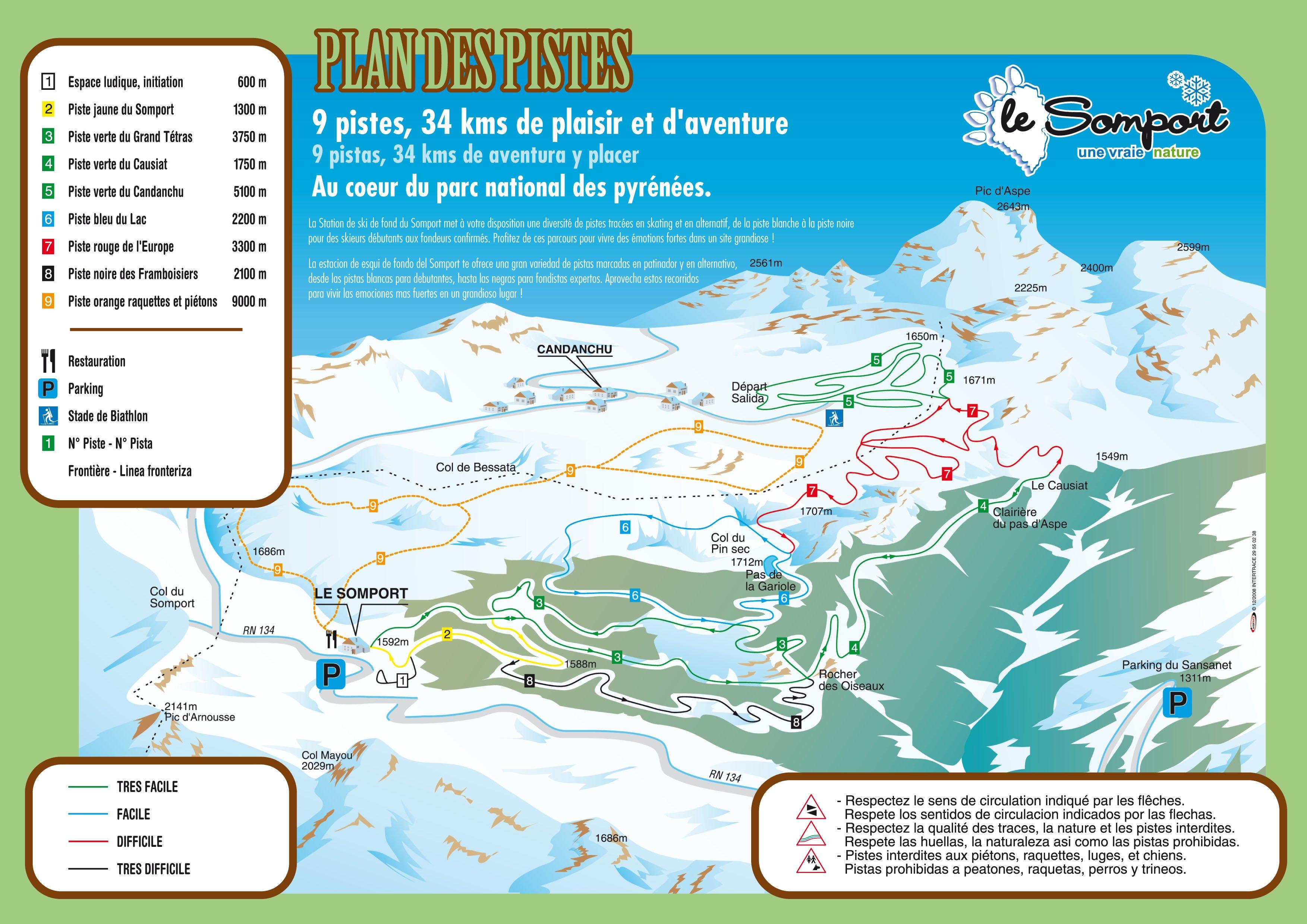 Mapa de pistas del Somport