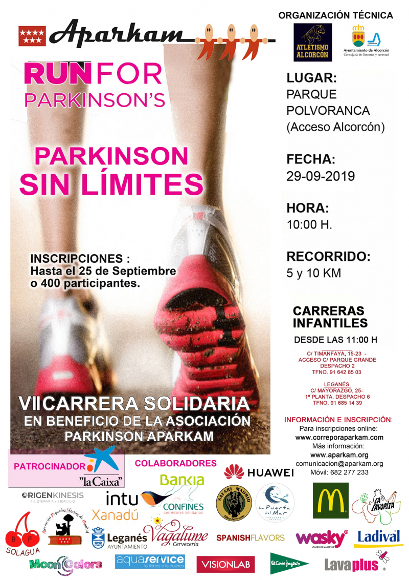 VII CARRERA SOLIDARIA RUN FOR PARKINSON APARKAM- PARKINSON SIN LIMITES - Inscríbete