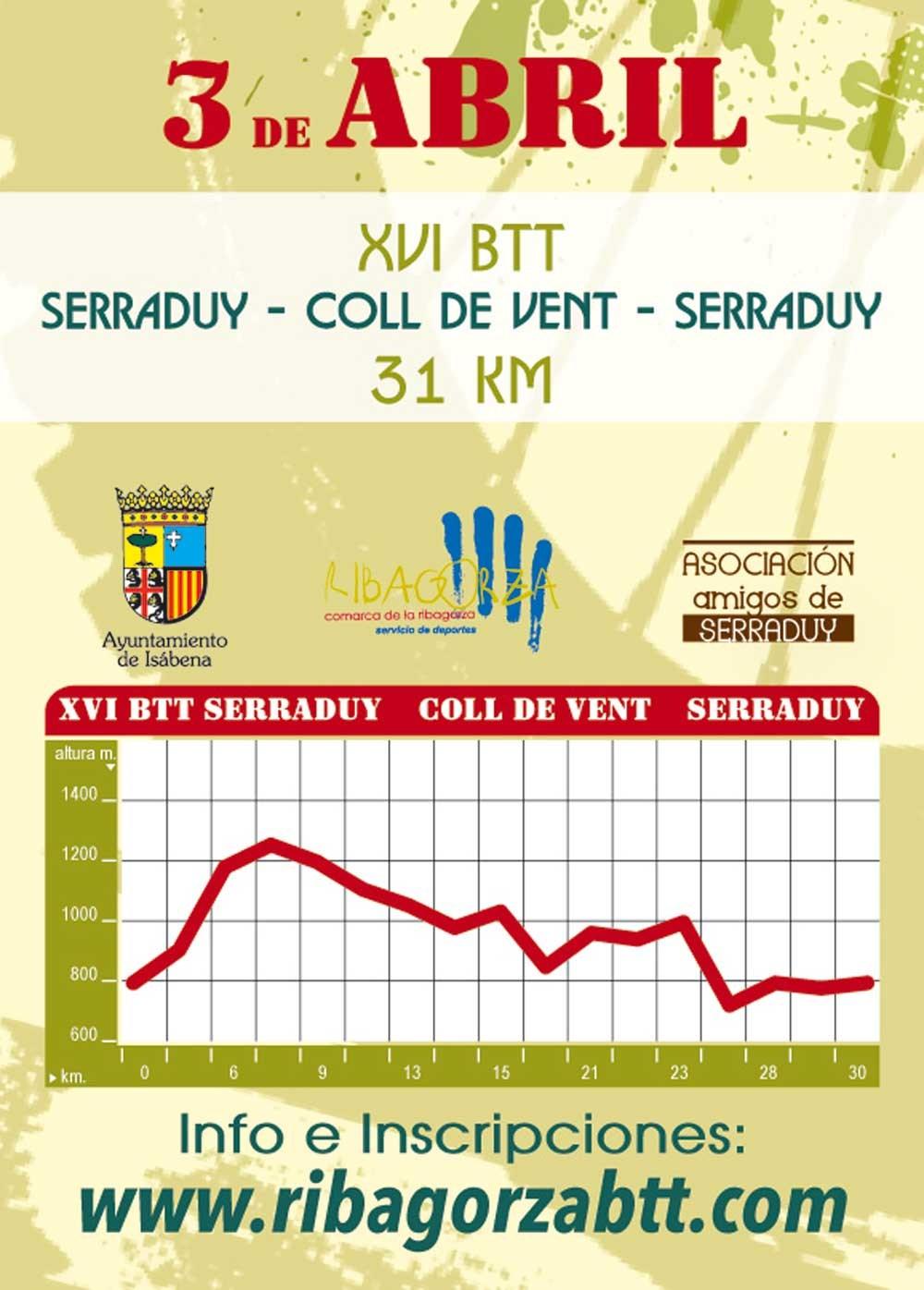 XVI BTT SERRADUY - COLL DE VENT -  SERRADUY - Inscreva-se